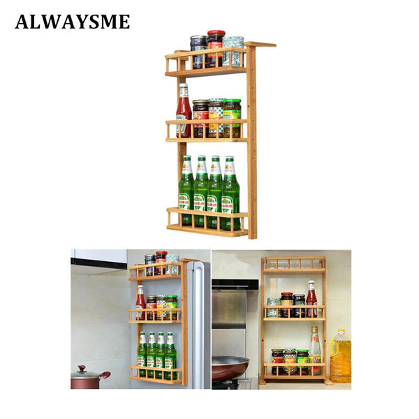 [variant_title] - ALWAYSME Pull-Out Wood Wall Cabinet Organizer Holder Rack 3 Tier Wall Mounted Kitchen Condiment Storage Organizer Shelf Rack