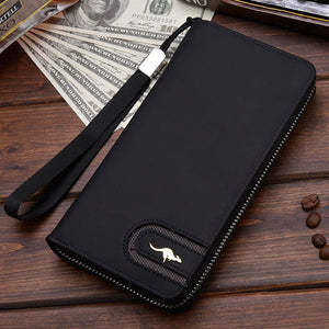 Black A - New Men Leather Wallet High Quality Zipper Wallets Men Long Purse Male Clutch Phone Bag Wristlet Coin Purse Card Holder MWS184