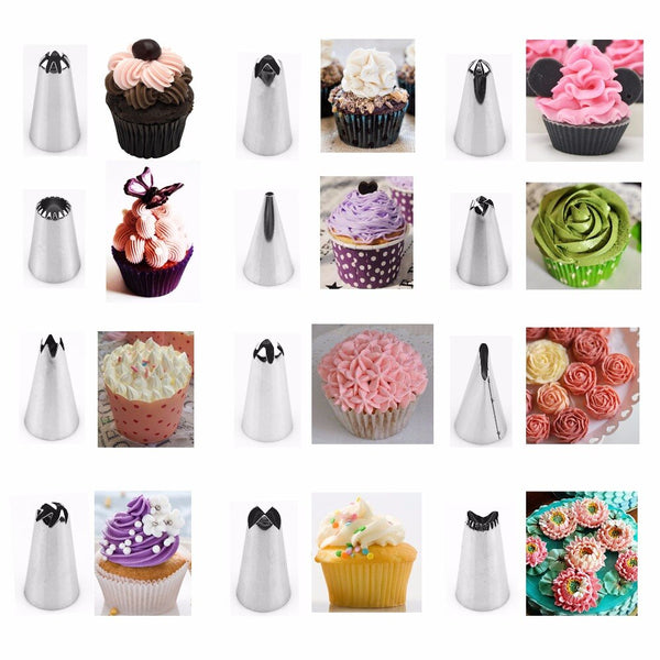 [variant_title] - 14pc/set Dessert Decorators Silicone Icing Piping Cream Pastry Bag Stainless Steel Piping Icing Nozzle for Cream Pastry Tool