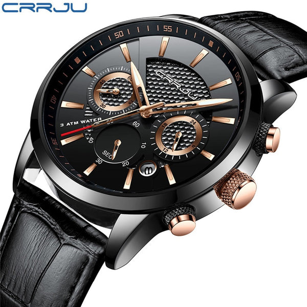 black gold - CRRJU New Fashion Men Watches Analog Quartz Wristwatches 30M Waterproof Chronograph Sport Date Leather Band Watches montre homme