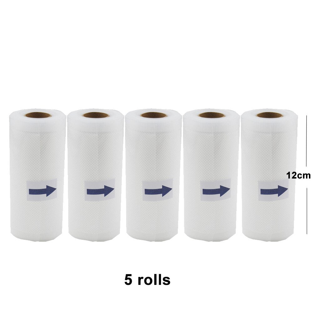 12cm 5pcs - 5 Rolls/Lot Kitchen Food Vacuum Bag Storage Bags For Vacuum Sealer Vacuum Packaging Rolls 12/15/20/25/28cm*500cm
