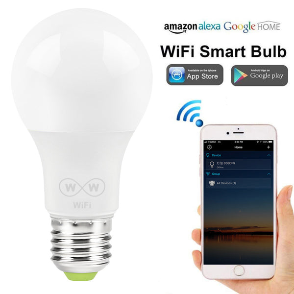 [variant_title] - New E27 WiFi Smart LED Light Bulbs Intellegent App Remote Control Bulbs Walk-up Warn Lighting Work With Alexa Google Assistant
