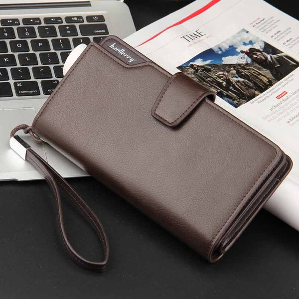 brown - 2018 Fashion Top Quality leather long wallet men Purse male clutch zipper around wallets men women money bag pocket mltifunction