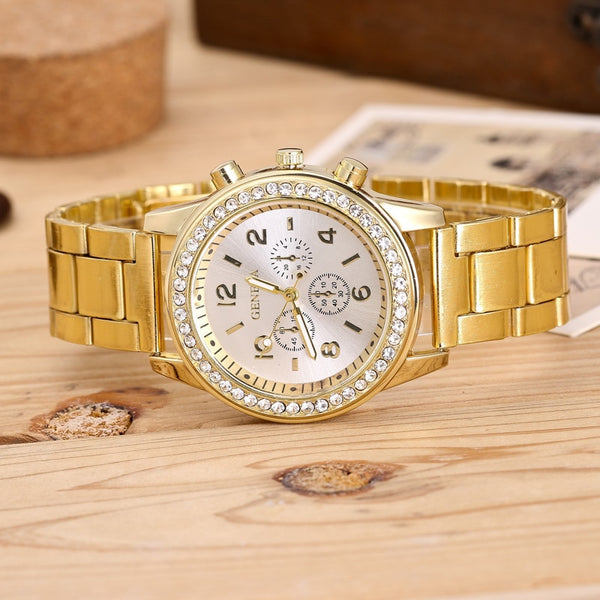 [variant_title] - 2019 Fashion Dress Watches Women Men Faux Chronograph Quartz Plated Classic Round Crystals Watch relogio masculino Casual Clock