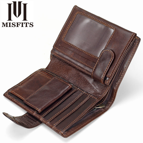 [variant_title] - MISFITS Vintage Men Wallet Genuine Leather Short Wallets Male Multifunctional Cowhide Male Purse Coin Pocket Photo Card Holder