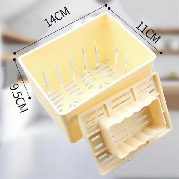 [variant_title] - 500g Capacity DIY Plastic Tofu Press Mould Homemade Soybean Curd Making Mold with Cheese Cloth Kitchen Cooking Tool Set