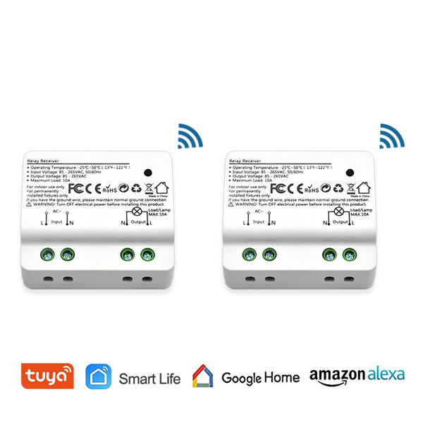2 pcs - Tuya Smart Life WiFi Light Switch Alexa Echo, Google Home Voice Control, 10A, App Remote Control Lights, Set Timer for Lamps