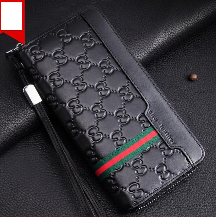Default Title - Luxury Brand Men Wallets Long Men Purse Wallet Male Clutch Genuine  Leather Zipper Wallet Men Business Male Wallet Coin