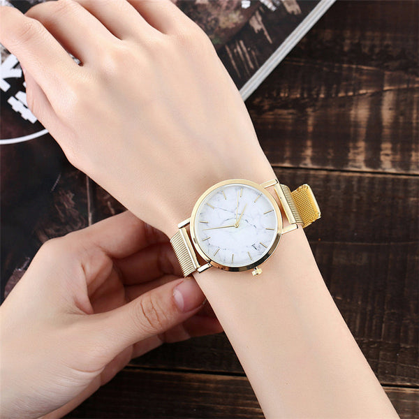 [variant_title] - Vansvar Brand Fashion Silver And Gold Mesh Band Creative Marble Wrist Watch Casual Women Quartz Watches Gift Relogio Feminino