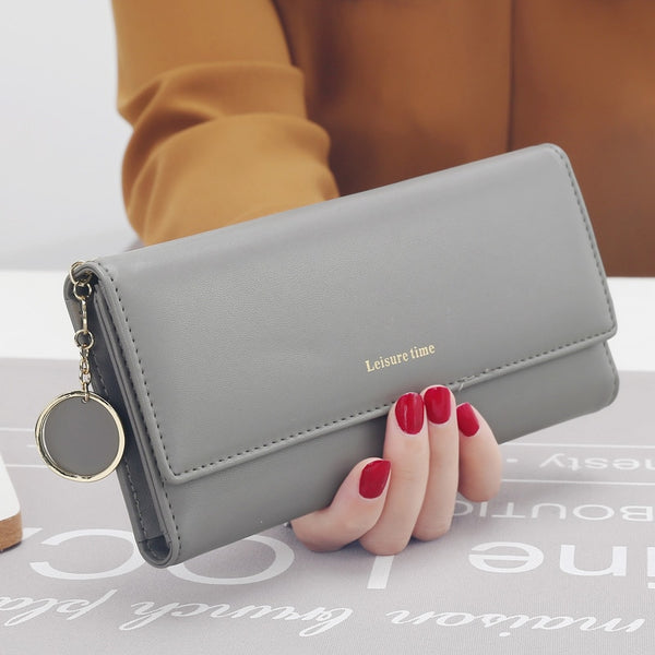 Gray - New Fashion Women Wallets Long Style Multi-functional wallet Purse Fresh PU leather Female Clutch Card Holder