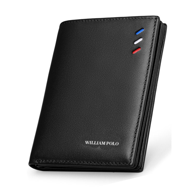 black - WilliamPOLO 100% Genuine Leather Men Wallets Men Wallet   Male Purse Short Wallet Money Clip Purses Leather Purse Wallets