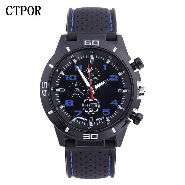 blue - 9-18 years Old Sports Children's Watch Military Sports Car Style Man Watches Silicone Wristwatch Child Student Clock Kids Boy WA