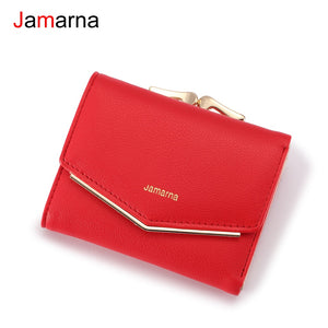 [variant_title] - Jamarna Wallet Female PU Leather Women Wallets Hasp Coin Purse Wallet Female Vintage Fashion Women Wallet Small Card Holder Red
