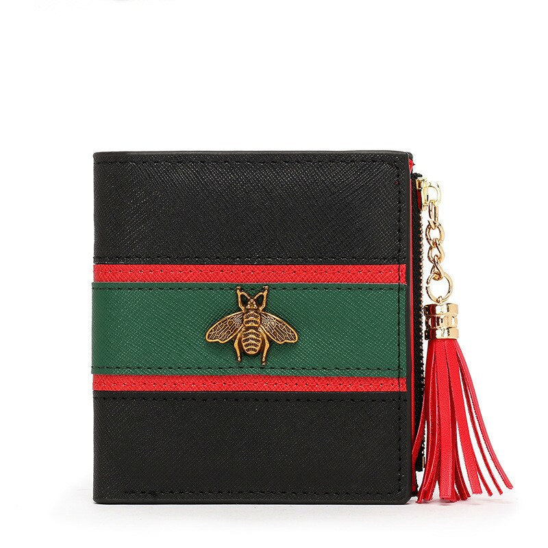 black - Hot Sale Genuine Leather Women Wallets Women Purses Hasp Wallet Female Small Coin Purse Leather Zipper Carteira Feminina