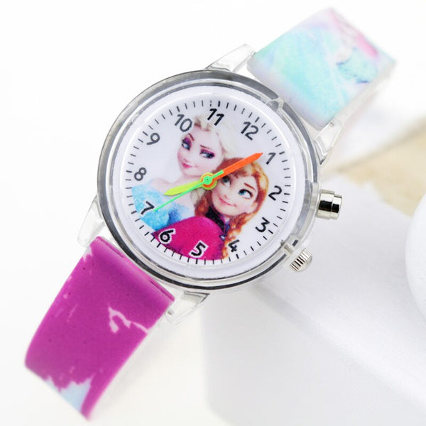 Girl Purple Flash - Princess Elsa Children Watches Spiderman Colorful Light Source Boys Watch Girls Kids Party Gift Clock Wrist Relogio Feminino