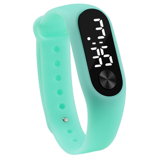 mint green - Fashion Men Women Casual Sports Bracelet Watches White LED Electronic Digital Candy Color Silicone Wrist Watch for Children Kids