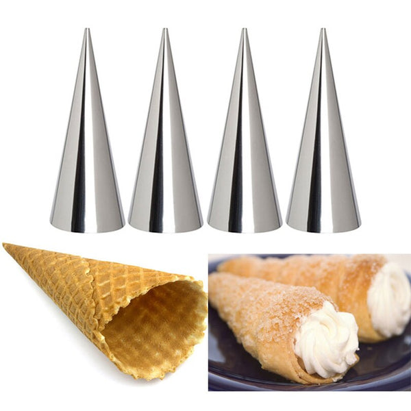 [variant_title] - 12pcs High Quality Conical Tube Cone Roll Moulds Stainless Steel Spiral Croissants Molds Pastry Cream Horn Cake Bread Mold