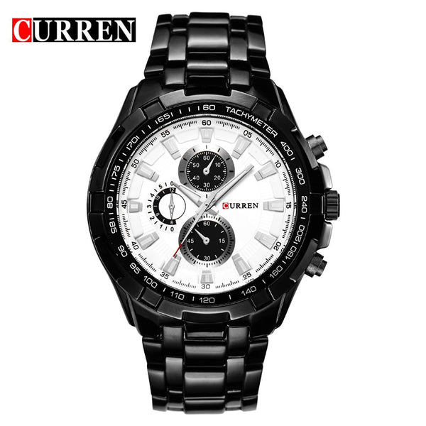 black white - HOT2016 CURREN Watches Men quartz TopBrand  Analog  Military male Watches Men Sports army Watch Waterproof Relogio Masculino8023