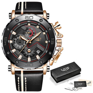 Rose gold black - 2019LIGE New Fashion Mens Watches Top Brand Luxury Big Dial Military Quartz Watch Leather Waterproof Sport Chronograph Watch Men