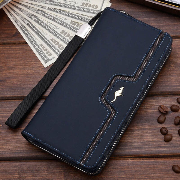 Blue C - New Men Leather Wallet High Quality Zipper Wallets Men Long Purse Male Clutch Phone Bag Wristlet Coin Purse Card Holder MWS184