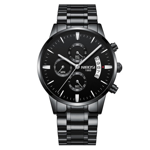 Whole Black Steel - NIBOSI Relogio Masculino Men Watches Luxury Famous Top Brand Men's Fashion Casual Dress Watch Military Quartz Wristwatches Saat