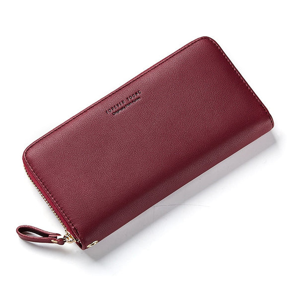 Wine Red - WEICHEN Wristband Women Long Clutch Wallet Large Capacity Wallets Female Purse Lady Purses Phone Pocket Card Holder Carteras