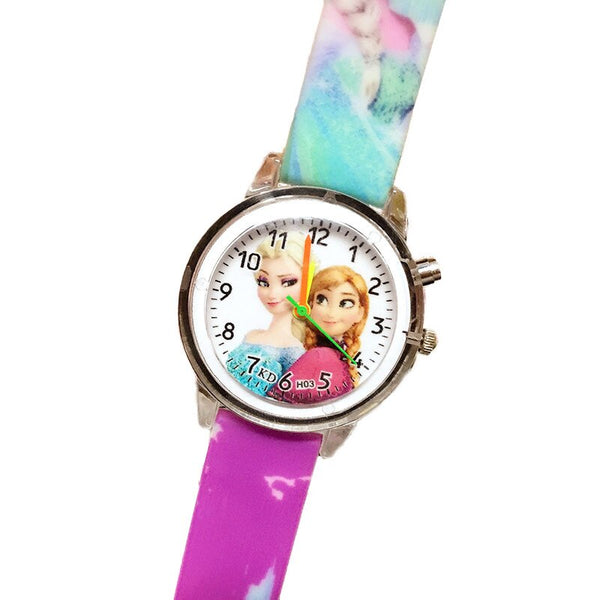 Flash Purple - Princess Elsa Children Watches Electronic Colorful Light Source Child Watch Girls Birthday Party Kids Gift Clock Childrens Wrist