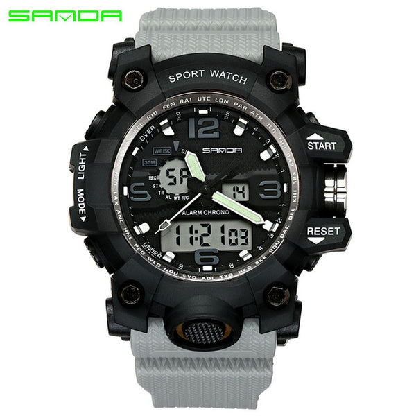 gray - SANDA top luxury brand G style men's military sports watch LED digital watch waterproof men's watch Relogio Masculino