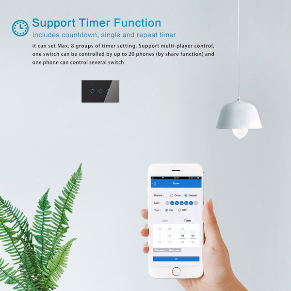 [variant_title] - Smart Light Switch 1 2 3 Gang US In-Wall Touch Control WiFi Switch Compatible With Alexa Google Assistant IFTTT For Android IOS