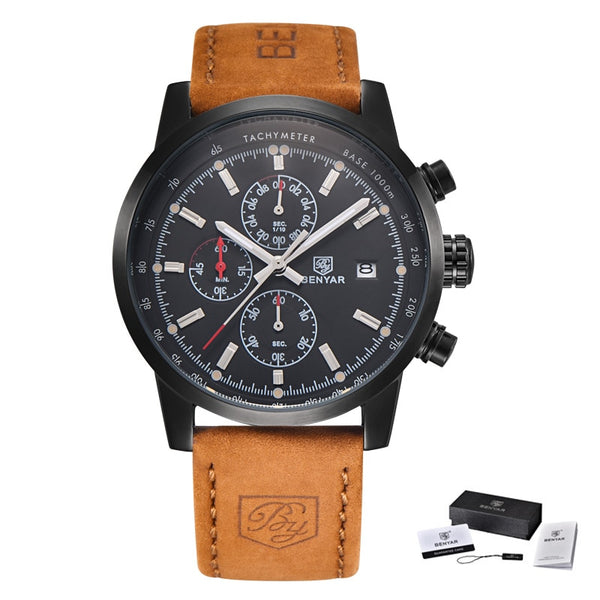 L Brown black black - BENYAR Fashion Chronograph Sport Mens Watches Top Brand Luxury Quartz Watch Reloj Hombre saat Clock Male hour relogio Masculino