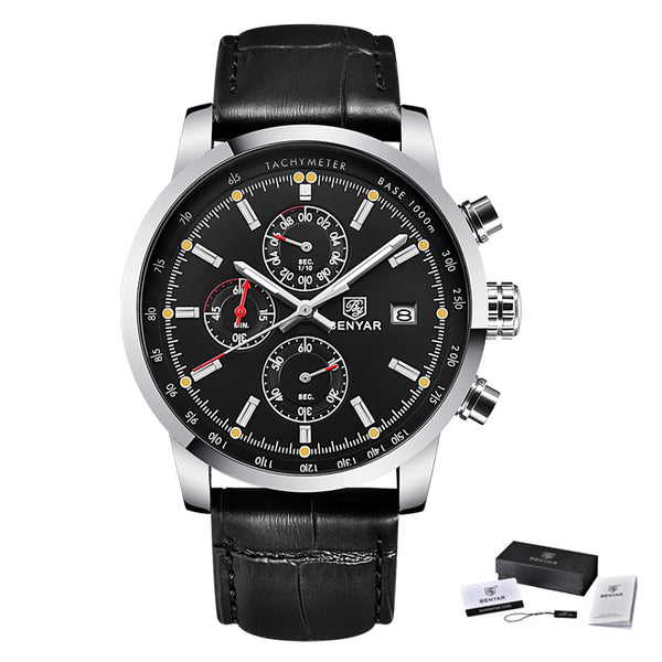 L Black Silver Black - BENYAR Fashion Chronograph Sport Mens Watches Top Brand Luxury Quartz Watch Reloj Hombre saat Clock Male hour relogio Masculino