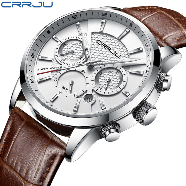 silver white - CRRJU New Fashion Men Watches Analog Quartz Wristwatches 30M Waterproof Chronograph Sport Date Leather Band Watches montre homme