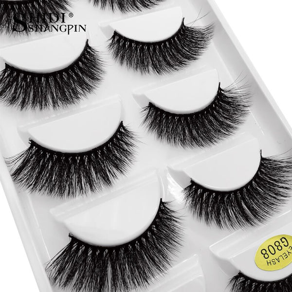 g808 - SHIDISHANGPIN 5 pairs mink eyelashes natural long 3d mink lashes hand made false eyelashes dramatic eyelashes makeup fake lashes