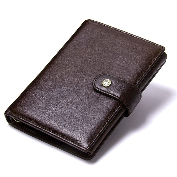Default Title - Casual Genuine Leather Wallet Men Passport Holder Coin Purse PORTFOLIO MAN Portomonee Short Wallets Passport Cover Travel Bag