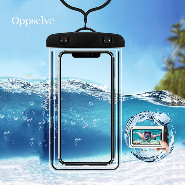 Waterproof Mobile Phone Case For iPhone 11 X Xs Max 8 7 Samsung S9 Clear PVC Sealed Underwater Cell Smart Phone Dry Pouch Cover