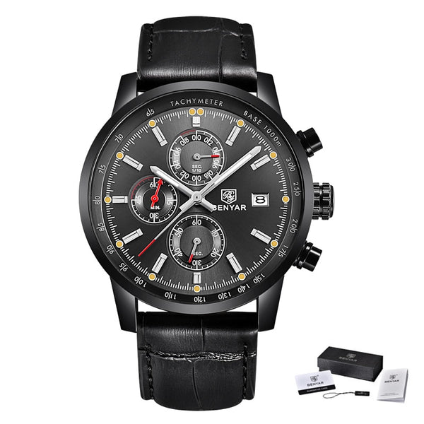 L Black Black Grey - BENYAR Fashion Chronograph Sport Mens Watches Top Brand Luxury Quartz Watch Reloj Hombre saat Clock Male hour relogio Masculino
