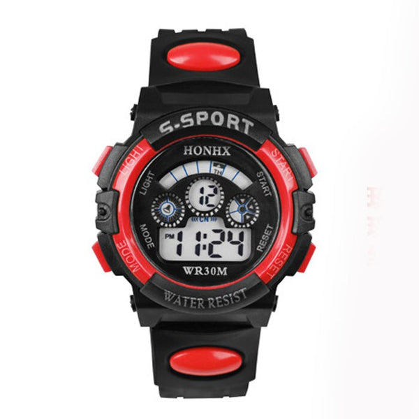 red - 2017 Waterproof Children Boy Digital LED Quartz Alarm Date Sports Wrist Watch dropshipping