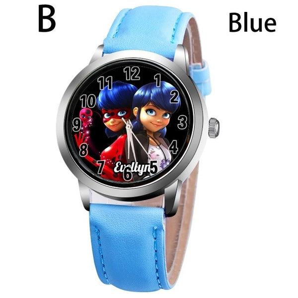 B-BLUE - New arrive Miraculous Ladybug Watches Children Kids gift Watch Casual Quartz Wristwatch fashion leather watch Relogio Relojes