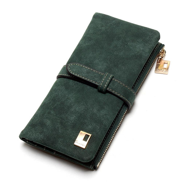 Army Green - 2019 New Fashion Women Wallets Drawstring Nubuck Leather Zipper Wallet Women's Long Design Purse Two Fold More Color Clutch