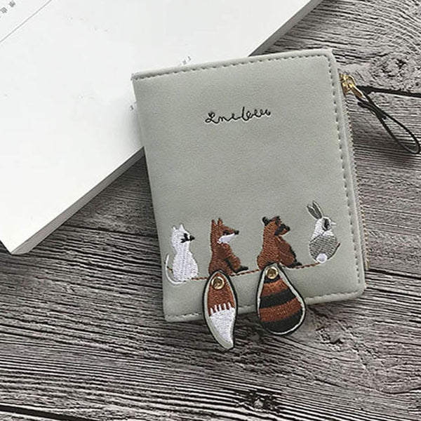 [variant_title] - High quality Women's Wallet Lovely Cartoon Animals Short Leather Female Small Coin Purse Hasp Zipper Purse Card Holder For Girls