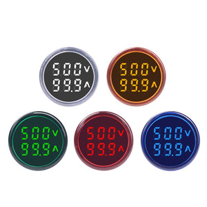 [variant_title] - Round LED Dual Display AC Amp Volt Ampermeter Voltmeter Ammeter Digital Voltage Current Ampere Meter Indicator 60-500V 220V 100A