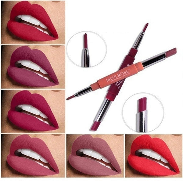 [variant_title] - 14 Color Double-end Lip Makeup Lipstick Pencil Waterproof Long Lasting Tint Sexy Red Lip Stick Beauty Matte Liner Pen Lipstick
