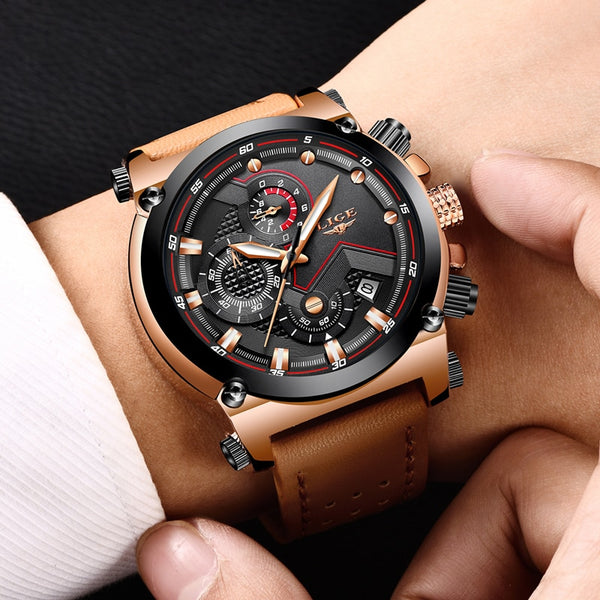 [variant_title] - LIGE Fashion Mens Watches Top Brand Luxury Casual Sport Quartz Watch Men Leather Waterproof Military Wristwatch Relogio Masculio