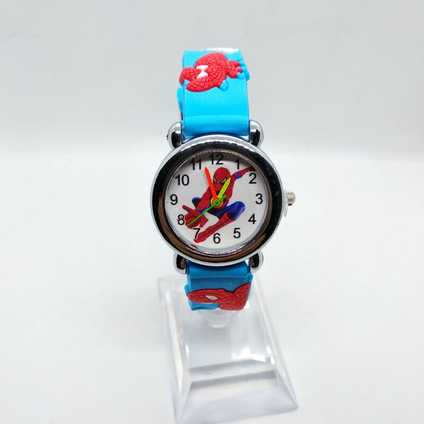 Sky Blue - 3D Spiderman Children's Watches For Boys Girls Clock Kids Watch Superhero Spider Man Silicone Children Watch Baby Birthday Gift