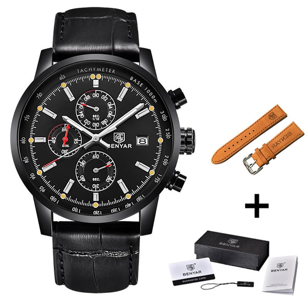 L full Black strap - BENYAR Fashion Chronograph Sport Mens Watches Top Brand Luxury Quartz Watch Reloj Hombre saat Clock Male hour relogio Masculino
