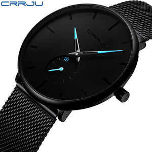 [variant_title] - Crrju Fashion Mens Watches Top Brand Luxury Quartz Watch Men Casual Slim Mesh Steel Waterproof Sport Watch Relogio Masculino