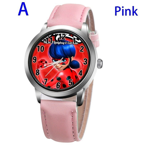 A-PINK - New arrive Miraculous Ladybug Watches Children Kids gift Watch Casual Quartz Wristwatch fashion leather watch Relogio Relojes