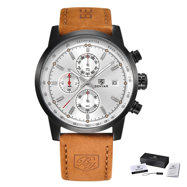 L Brown black white - BENYAR Fashion Chronograph Sport Mens Watches Top Brand Luxury Quartz Watch Reloj Hombre saat Clock Male hour relogio Masculino