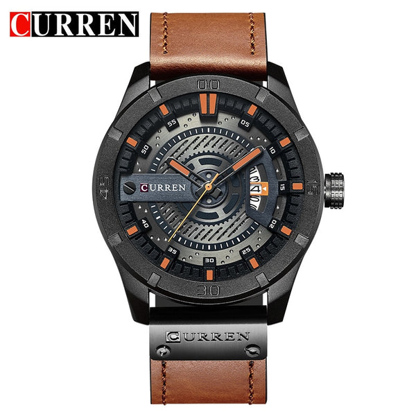 black orange - 2018 Luxury Brand CURREN Men Military Sports Watches Men's Quartz Date Clock Man Casual Leather Wrist Watch Relogio Masculino