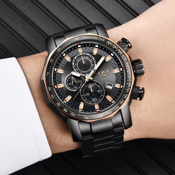 [variant_title] - Relogio Masculino LIGE New Sport Chronograph Mens Watches Top Brand Luxury Full Steel Quartz Clock Waterproof Big Dial Watch Men